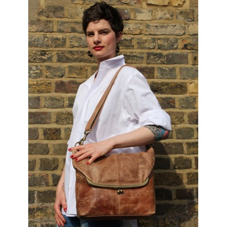 Dublin Large Clip Bag Tan Leather