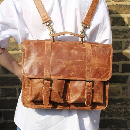 Liverpool Satchel Tan Scrunchy Leather Bag