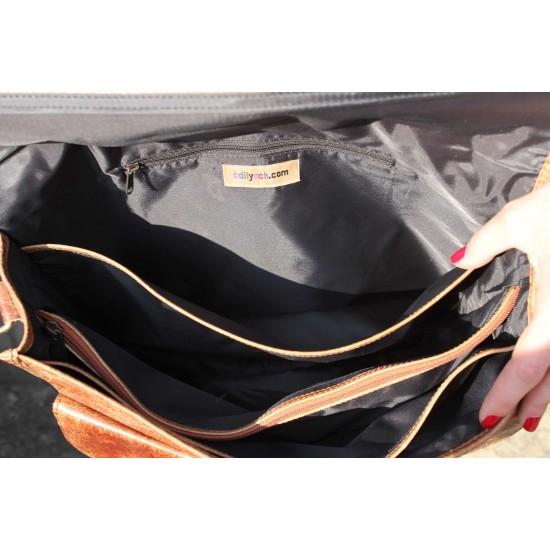 Satchel Tan Scrunchy Leather Bag