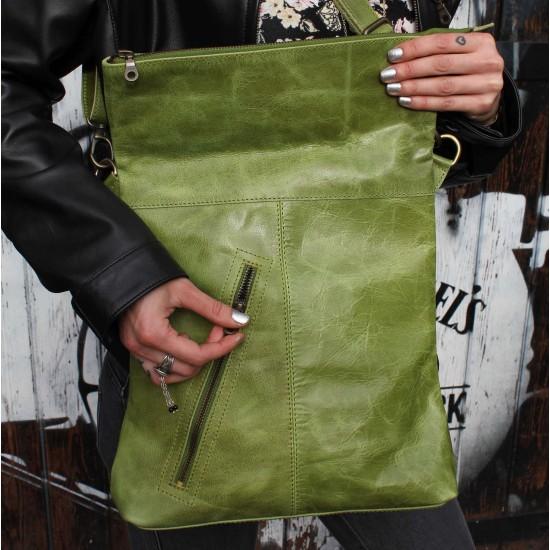 Amelie Messengerbag Crossbodystyle Apple Green Leather