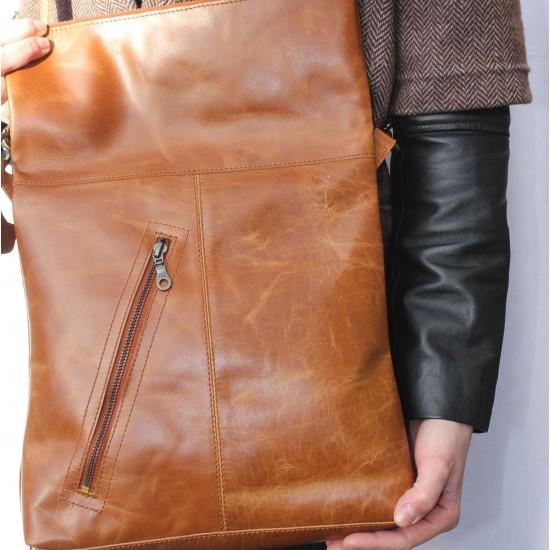 Amelie Crossbody Messenger Bag Tan Leather