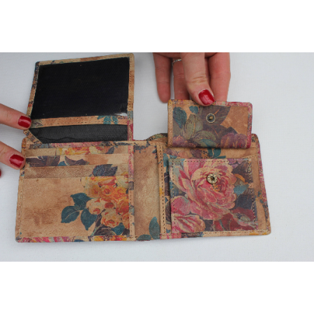 Alberta Floral Summer Garden Leather Wallet Leather