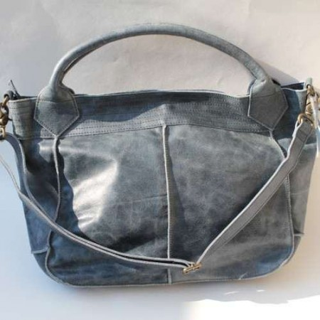 Bach Medium Tote Navy Blue Leather