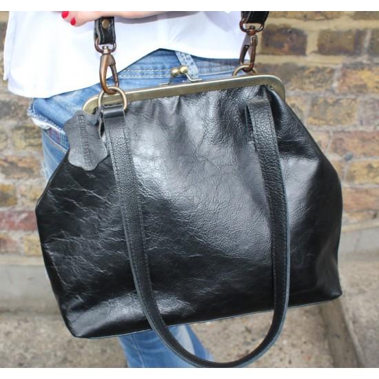 Maya Medium Clipframe Bag Black Leather