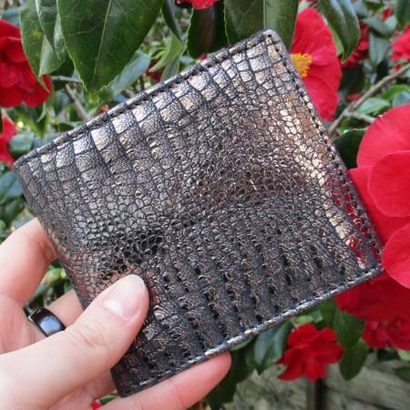 Alberta Metallic Black Crocodile Print Wallet Leather