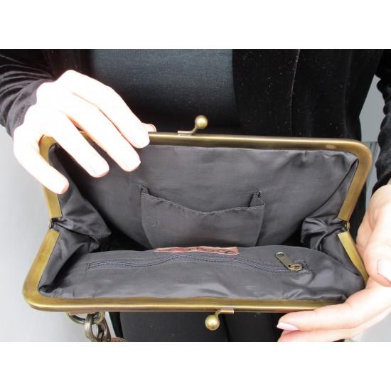 Layla Zipped Clip Lock Handbag Brown