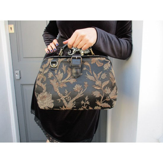 Doctor Bag Black and Tan Tapestry and Leather