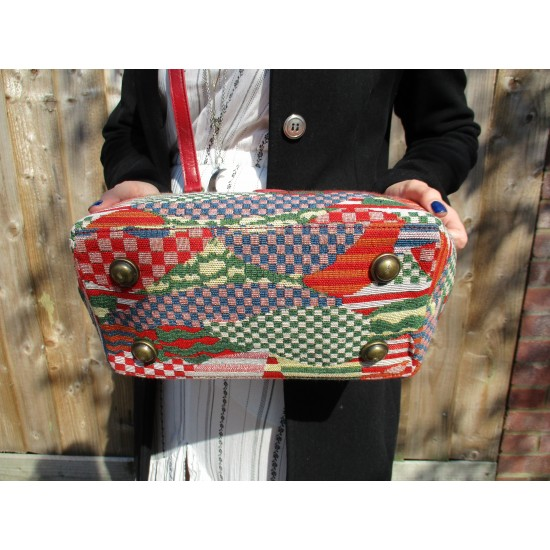 Doctor Bag Tapestry and Leather Red Multicolour