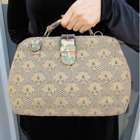 Minidoc Doctor Bag Tapestry and Leather Beige