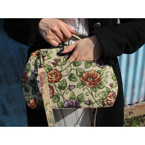Minidoc  Doctor Bag Tapestry and Leather Wild Flower Meadow