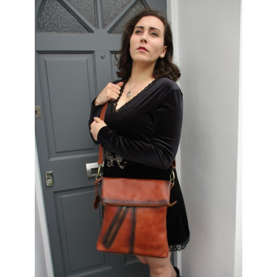 Amelie Crossbody Bag Two Tone Tan and Brown