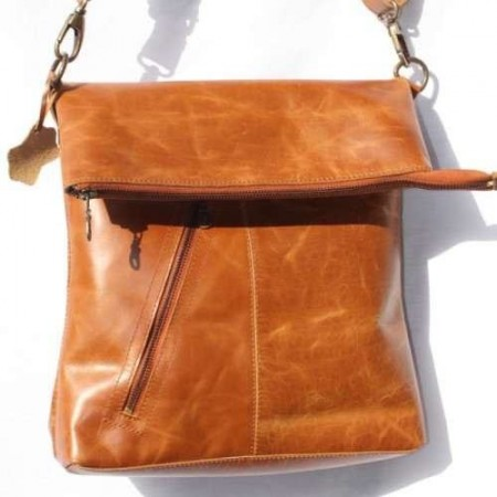 Amelie Crossbody Messenger Bag Tan Leather