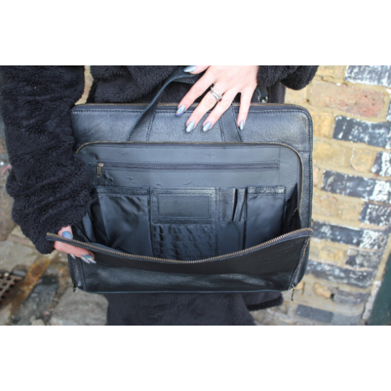 Tony Leather Laptop Bag Black for 18 inch